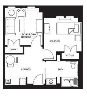 two bedroom senior apartment